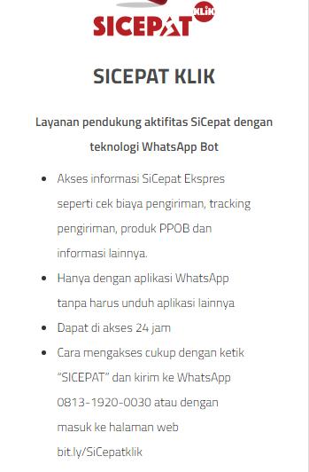 Cek Resi Sicepat Lewat Whatsapp